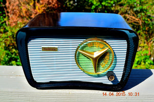 SOLD! - Feb 10, 2016 - BLUETOOTH MP3 READY - SO JETSONS LOOKING Retro Vintage AQUA and BLACK 1959 Travler T-204 AM Tube Radio WORKS! - [product_type} - Travler - Retro Radio Farm