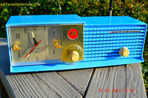 SOLD! - May 28, 2015 - CORNFLOWER BLUE Bi-level Retro Jetsons 1957 Motorola 57CD Tube AM Clock Radio WORKS! - [product_type} - Motorola - Retro Radio Farm