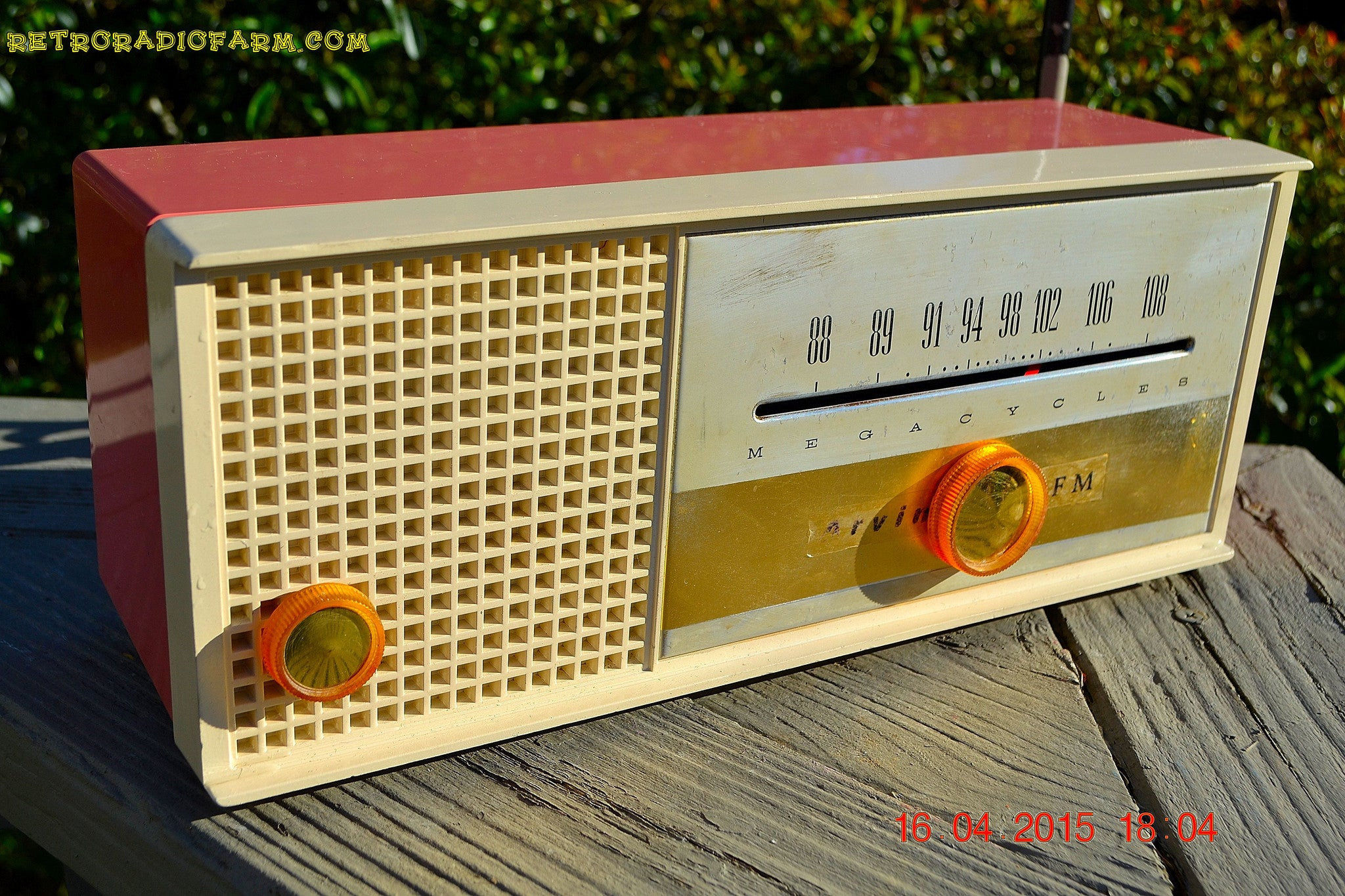 SOLD! - May 15, 2015 - CARNATION PINK Retro Jetsons early 60s Arvin Model 30R12 Tube FM RADIO Works! - [product_type} - Arvin - Retro Radio Farm