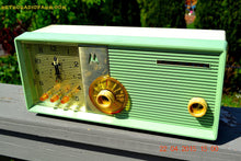 Load image into Gallery viewer, SOLD! - Aug 19, 2015 - BLUETOOTH MP3 READY - COOL MINT GREEN Retro Jetsons 1957 Motorola 5C25GW Tube AM Clock Radio Totally Restored! - [product_type} - Motorola - Retro Radio Farm
