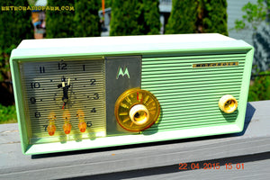 SOLD! - Aug 19, 2015 - BLUETOOTH MP3 READY - COOL MINT GREEN Retro Jetsons 1957 Motorola 5C25GW Tube AM Clock Radio Totally Restored! - [product_type} - Motorola - Retro Radio Farm