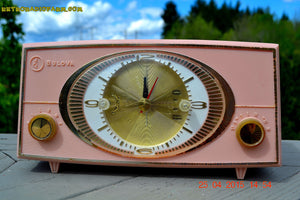 SOLD! - Sept 9, 2015 - PINK CYCLOPIC Vintage Mid Century Retro Jetsons 1957 Bulova Model 140 Tube AM Clock Radio WORKS! - [product_type} - Bulova - Retro Radio Farm