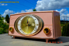 Load image into Gallery viewer, SOLD! - Sept 9, 2015 - PINK CYCLOPIC Vintage Mid Century Retro Jetsons 1957 Bulova Model 140 Tube AM Clock Radio WORKS! , Vintage Radio - Bulova, Retro Radio Farm  - 1