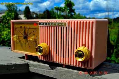 SOLD! - Nov 4, 2015 - BLUETOOTH MP3 READY - PRETTY IN PINK Retro Jetsons 1956 Motorola 57CF Tube AM Clock Radio Totally Restored! - [product_type} - Motorola - Retro Radio Farm