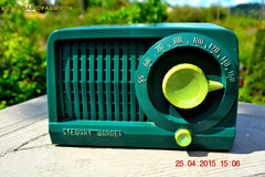 SOLD! - July 28, 2015 - BEAUTIFUL Art Deco Rare Retro Green 1952 Stewart Warner 9160H Tube AM Radio Totally Restored! , Vintage Radio - Stewart Warner, Retro Radio Farm  - 3