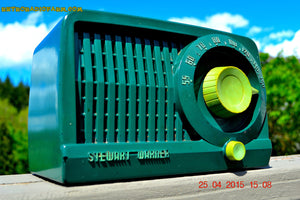 SOLD! - July 28, 2015 - BEAUTIFUL Art Deco Rare Retro Green 1952 Stewart Warner 9160H Tube AM Radio Totally Restored! - [product_type} - Stewart Warner - Retro Radio Farm