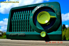 SOLD! - July 28, 2015 - BEAUTIFUL Art Deco Rare Retro Green 1952 Stewart Warner 9160H Tube AM Radio Totally Restored! , Vintage Radio - Stewart Warner, Retro Radio Farm  - 4