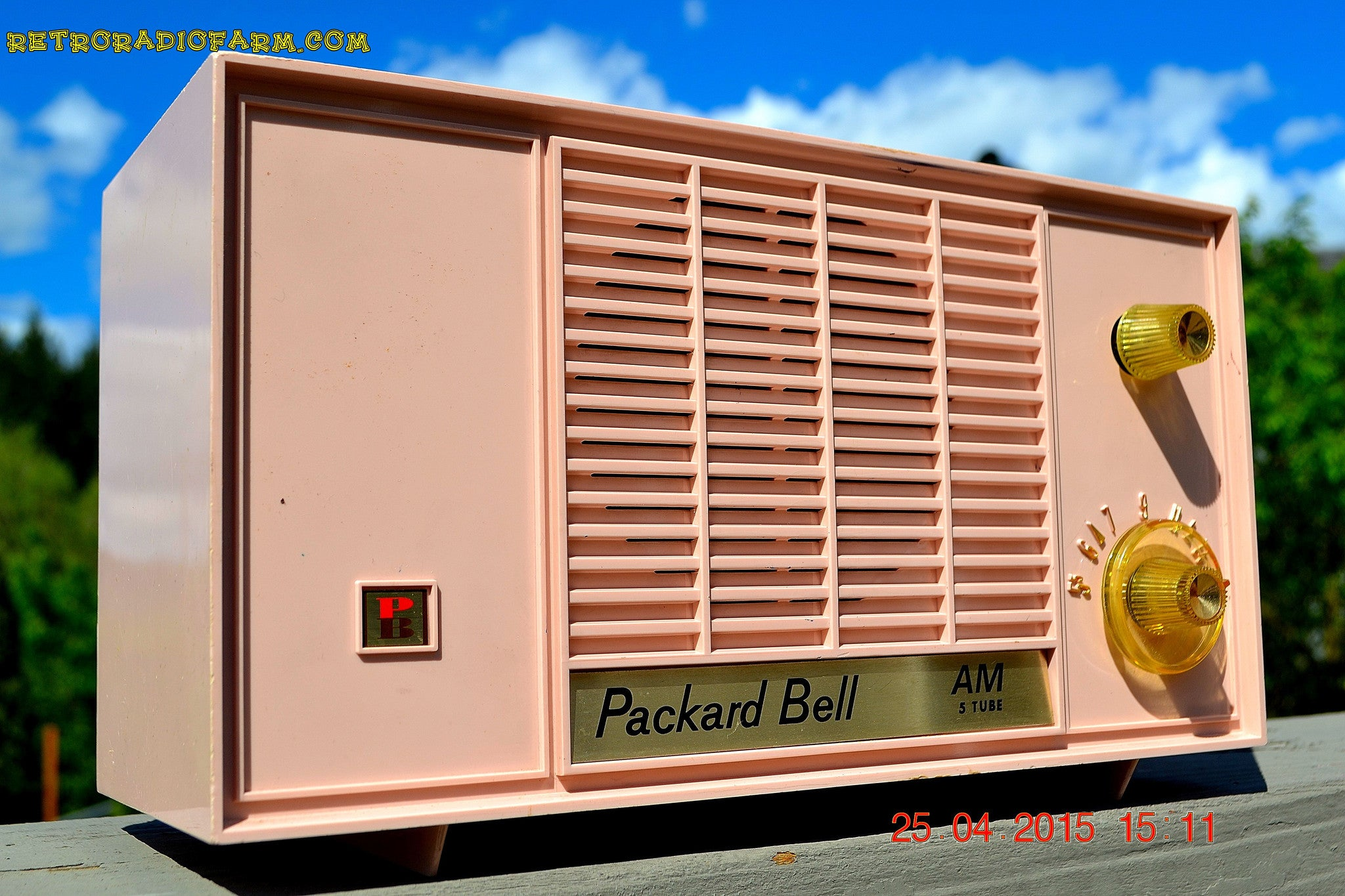 SOLD! - June 21, 2015 - BLUETOOTH MP3 READY - PASTEL PINK Mid Century Vintage 1959 Packard Bell Model 5R9 Tube Radio Totally Restored! , Vintage Radio - Packard-Bell, Retro Radio Farm  - 1