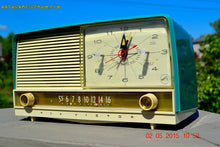 Load image into Gallery viewer, SOLD! - Aug 5, 2015 - Aqua and White Retro Jetsons 1956 RCA Victor 9-C-7LE Tube AM Clock Radio Totally Restored! - [product_type} - RCA Victor - Retro Radio Farm