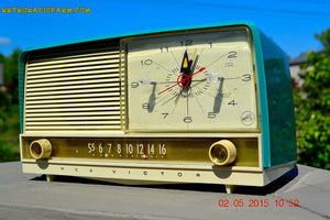 SOLD! - Aug 5, 2015 - Aqua and White Retro Jetsons 1956 RCA Victor 9-C-7LE Tube AM Clock Radio Totally Restored! - [product_type} - RCA Victor - Retro Radio Farm