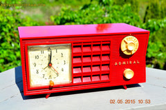 SOLD! - May 12, 2015 - FIRE ENGINE RED Retro Jetsons Mid Century Vintage 1955 Admiral Model 251 AM Tube Radio Totally Restored! , Vintage Radio - Admiral, Retro Radio Farm  - 4
