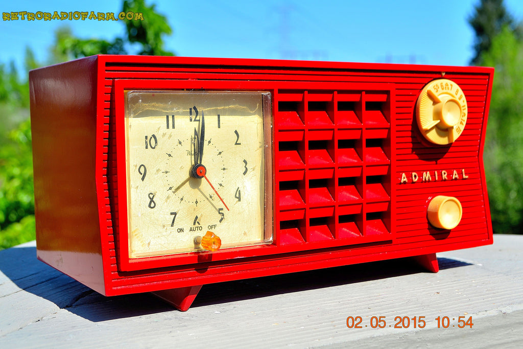 SOLD! - May 12, 2015 - FIRE ENGINE RED Retro Jetsons Mid Century Vintage 1955 Admiral Model 251 AM Tube Radio Totally Restored! , Vintage Radio - Admiral, Retro Radio Farm  - 1