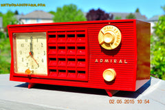 SOLD! - May 12, 2015 - FIRE ENGINE RED Retro Jetsons Mid Century Vintage 1955 Admiral Model 251 AM Tube Radio Totally Restored! , Vintage Radio - Admiral, Retro Radio Farm  - 2