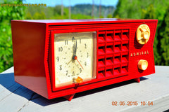 SOLD! - May 12, 2015 - FIRE ENGINE RED Retro Jetsons Mid Century Vintage 1955 Admiral Model 251 AM Tube Radio Totally Restored! , Vintage Radio - Admiral, Retro Radio Farm  - 6