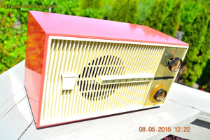 SOLD! - Feb 8, 2016 - BLUETOOTH MP3 READY - SALMON PINK Retro Jetsons Vintage 1959 Truetone Model D2832B AM Tube Radio WORKS! - [product_type} - Truetone - Retro Radio Farm