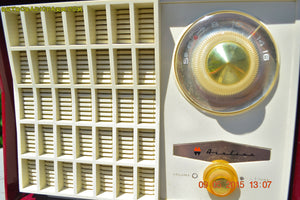 SOLD! - Aug 24, 2015 - MAROON Mid Century Retro Jetsons Vintage 1959 Wards Airline Model GEN-1668A Tube Radio Totally Restored! - [product_type} - Airline - Retro Radio Farm