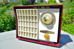 SOLD! - Aug 24, 201 - MAROON Mid Century Retro Jetsons Vintage 1959 Wards Airline Model GEN-1668A Tube Radio Totally Restored! - [product_type} - Airline - Retro Radio Farm