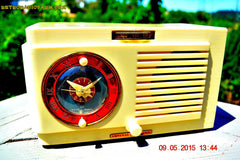 SOLD! - July 12, 2015 - VANILLA WHITE Art Deco 1952 General Electric Model 66 AM Brown Bakelite Tube Clock Radio Totally Restored! , Vintage Radio - General Electric, Retro Radio Farm  - 6