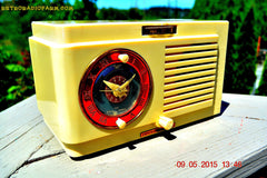 SOLD! - July 12, 2015 - VANILLA WHITE Art Deco 1952 General Electric Model 66 AM Brown Bakelite Tube Clock Radio Totally Restored! , Vintage Radio - General Electric, Retro Radio Farm  - 3