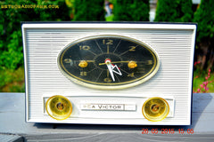 SOLD! - Aug 5, 2015 - Charcoal Grey Retro Jetsons Vintage 1959 RCA Victor Model 1-RD-50 AM Tube Clock Radio Totally Restored! , Vintage Radio - RCA Victor, Retro Radio Farm  - 4
