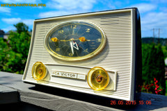 SOLD! - Aug 5, 2015 - Charcoal Grey Retro Jetsons Vintage 1959 RCA Victor Model 1-RD-50 AM Tube Clock Radio Totally Restored! , Vintage Radio - RCA Victor, Retro Radio Farm  - 3