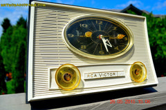 SOLD! - Aug 5, 2015 - Charcoal Grey Retro Jetsons Vintage 1959 RCA Victor Model 1-RD-50 AM Tube Clock Radio Totally Restored! , Vintage Radio - RCA Victor, Retro Radio Farm  - 2