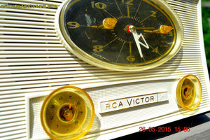 SOLD! - Aug 5, 2015 - Charcoal Grey Retro Jetsons Vintage 1959 RCA Victor Model 1-RD-50 AM Tube Clock Radio Totally Restored! - [product_type} - RCA Victor - Retro Radio Farm