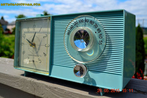 SOLD! - July 23, 2015 - POWDER BLUE Mid Century Jetsons 1959 General Electric Model C-404B Tube AM Clock Radio Totally Restored! - [product_type} - General Electric - Retro Radio Farm