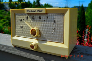 SOLD! - Sept 17, 2015 - IVORY WHITE Retro Jetsons Vintage 1956 Packard Bell 5R1 AM Tube Radio Works! , Vintage Radio - Packard-Bell, Retro Radio Farm  - 2
