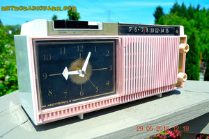 SOLD! - Dec 5, 2015 - ELDORADO PINK WHITE and BLACK Retro Jetsons 1959 Motorola C12 Tube AM Clock Radio Totally Restored! - [product_type} - Motorola - Retro Radio Farm