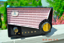 Load image into Gallery viewer, SOLD! - June 10, 2015 - AWESOME Black and Pink Retro Vintage 1957 Emerson 851 AM Tube Radio Totally Restored! , Vintage Radio - Emerson, Retro Radio Farm  - 7