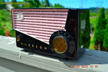 Load image into Gallery viewer, SOLD! - June 10, 2015 - AWESOME Black and Pink Retro Vintage 1957 Emerson 851 AM Tube Radio Totally Restored! , Vintage Radio - Emerson, Retro Radio Farm  - 2