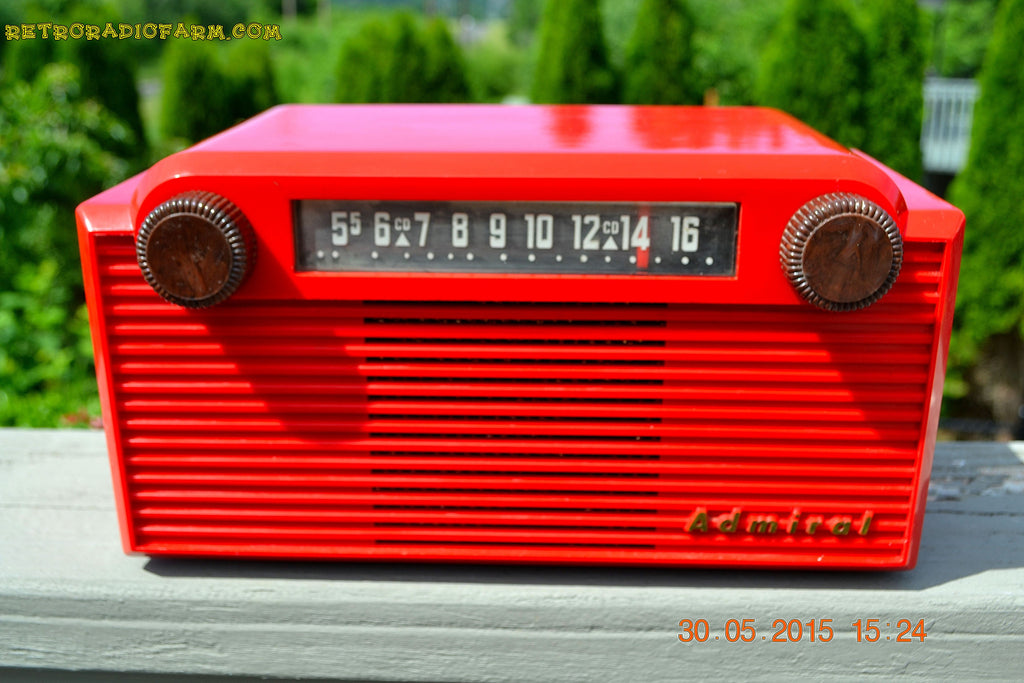 SOLD! - June 8, 2015 - BRIGHT RED Mid Century Vintage Retro Jetsons 1952 Admiral 5G35N AM Tube Radio Totally Restored! , Vintage Radio - Admiral, Retro Radio Farm  - 1
