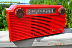 SOLD! - June 8, 2015 - BRIGHT RED Mid Century Vintage Retro Jetsons 1952 Admiral 5G35N AM Tube Radio Totally Restored! , Vintage Radio - Admiral, Retro Radio Farm  - 4