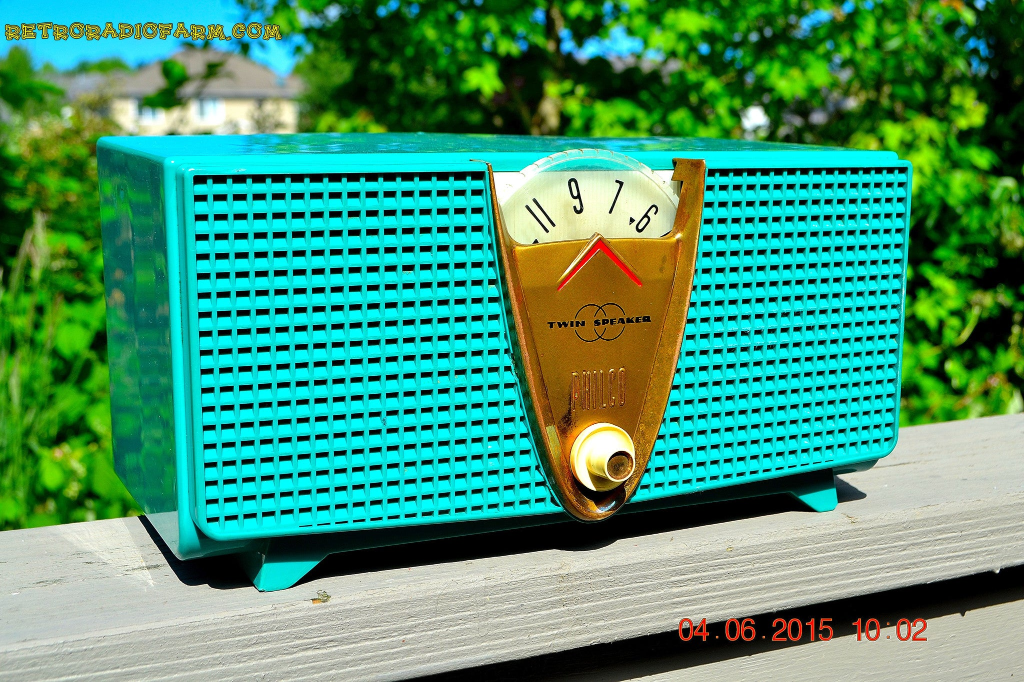 SOLD! - Dec 3, 2015 - AQUAMARINE Twin Speaker Retro Vintage 1959 Philco Model E-816-124 AM Tube Radio Totally Restored! - [product_type} - Philco - Retro Radio Farm