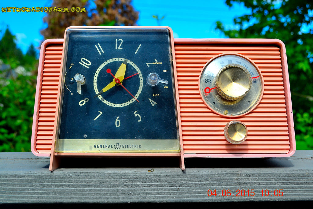 SOLD! - July 10, 2015 - POWDER PINK Mid Century Jetsons 1959 General Electric Model C-406A Tube AM Clock Radio Totally Restored! , Vintage Radio - General Electric, Retro Radio Farm  - 1