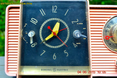 SOLD! - July 10, 2015 - POWDER PINK Mid Century Jetsons 1959 General Electric Model C-406A Tube AM Clock Radio Totally Restored! , Vintage Radio - General Electric, Retro Radio Farm  - 7