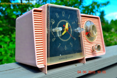 SOLD! - July 10, 2015 - POWDER PINK Mid Century Jetsons 1959 General Electric Model C-406A Tube AM Clock Radio Totally Restored! , Vintage Radio - General Electric, Retro Radio Farm  - 4