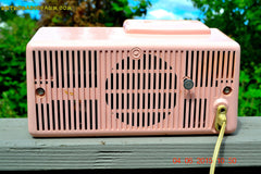 SOLD! - July 10, 2015 - POWDER PINK Mid Century Jetsons 1959 General Electric Model C-406A Tube AM Clock Radio Totally Restored! , Vintage Radio - General Electric, Retro Radio Farm  - 8