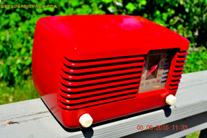 SOLD! - July 28, 2015 - LIPSTICK RED Vintage Deco Retro 1947 Philco Transitone 48-200 AM Bakelite Tube Radio Works! Wow! - [product_type} - Philco - Retro Radio Farm