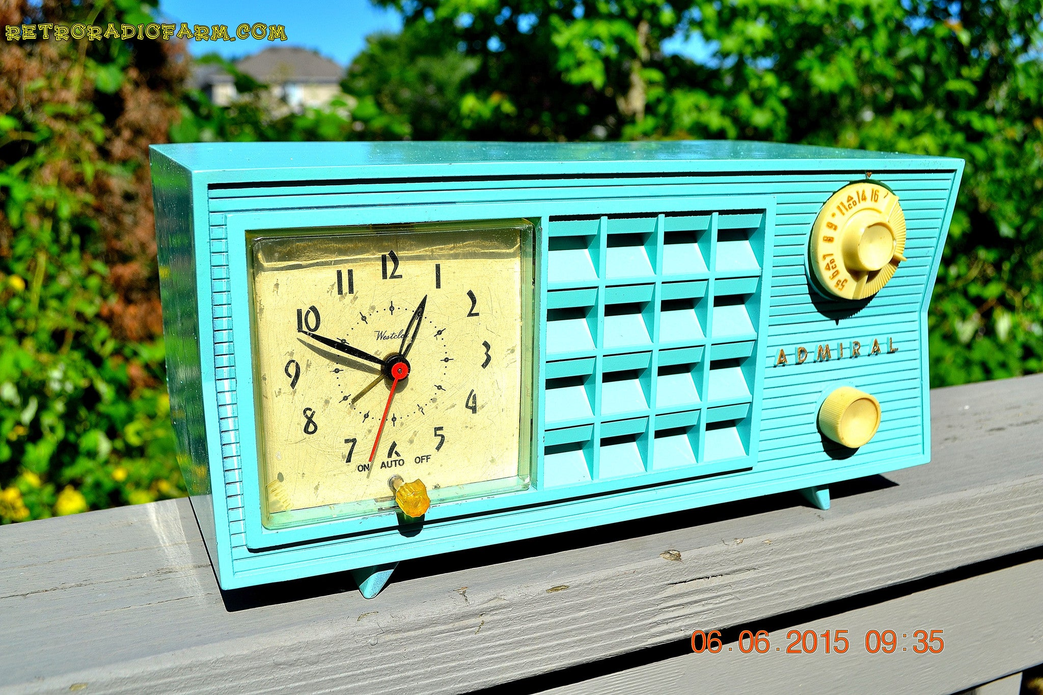SOLD! - Nov 24, 2015 - PISTACHIO GREEN Retro Jetsons Mid Century Vintage 1955 Admiral Model 251 AM Tube Radio Totally Restored! - [product_type} - Admiral - Retro Radio Farm
