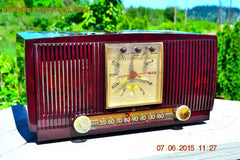 SOLD! - July 28, 2015 - BLUETOOTH MP3 READY Elegant Burgundy 1955 General Electric Model 543 Retro AM Clock Radio Works! , Vintage Radio - General Electric, Retro Radio Farm  - 5