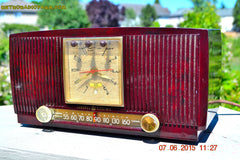 SOLD! - July 28, 2015 - BLUETOOTH MP3 READY Elegant Burgundy 1955 General Electric Model 543 Retro AM Clock Radio Works! , Vintage Radio - General Electric, Retro Radio Farm  - 3