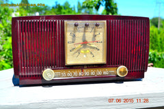 SOLD! - July 28, 2015 - BLUETOOTH MP3 READY Elegant Burgundy 1955 General Electric Model 543 Retro AM Clock Radio Works! , Vintage Radio - General Electric, Retro Radio Farm  - 4