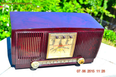 SOLD! - July 28, 2015 - BLUETOOTH MP3 READY Elegant Burgundy 1955 General Electric Model 543 Retro AM Clock Radio Works! , Vintage Radio - General Electric, Retro Radio Farm  - 7