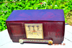 SOLD! - July 28, 2015 - BLUETOOTH MP3 READY Elegant Burgundy 1955 General Electric Model 543 Retro AM Clock Radio Works! , Vintage Radio - General Electric, Retro Radio Farm  - 6