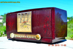 SOLD! - July 28, 2015 - BLUETOOTH MP3 READY Elegant Burgundy 1955 General Electric Model 543 Retro AM Clock Radio Works! , Vintage Radio - General Electric, Retro Radio Farm  - 2