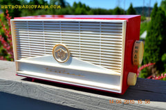 BLUETOOTH MP3 READY - Red and White Mid Century Retro Jetsons 1957 Truetone Model DC2854 Tube AM Radio Works! , Vintage Radio - Truetone, Retro Radio Farm  - 5
