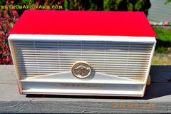 BLUETOOTH MP3 READY - Red and White Mid Century Retro Jetsons 1957 Truetone Model DC2854 Tube AM Radio Works! , Vintage Radio - Truetone, Retro Radio Farm  - 3