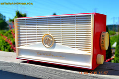 BLUETOOTH MP3 READY - Red and White Mid Century Retro Jetsons 1957 Truetone Model DC2854 Tube AM Radio Works! , Vintage Radio - Truetone, Retro Radio Farm  - 2